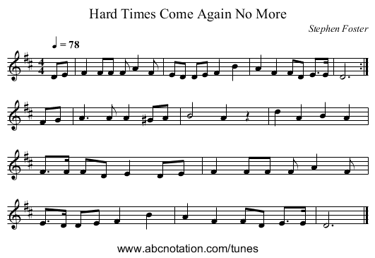 Hard Times Come Again No More - staff notation