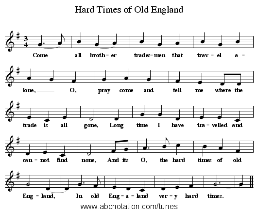 Hard Times of Old England - staff notation