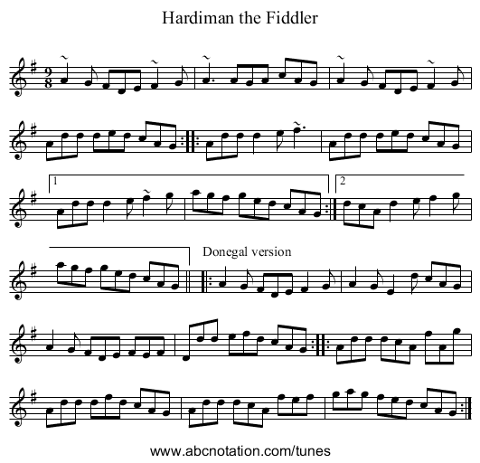 Hardiman the Fiddler - staff notation