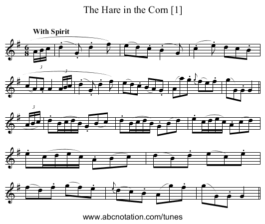 Hare in the Corn [1], The - staff notation