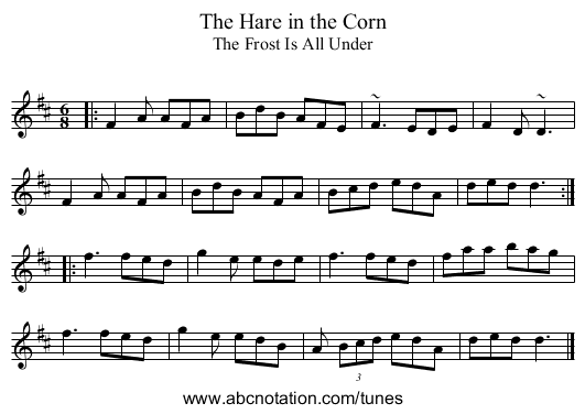 Hare in the Corn, The - staff notation