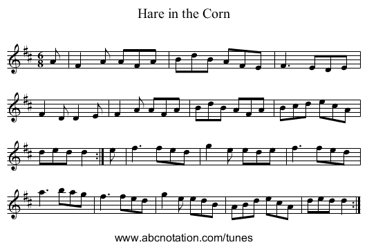 Hare in the Corn - staff notation
