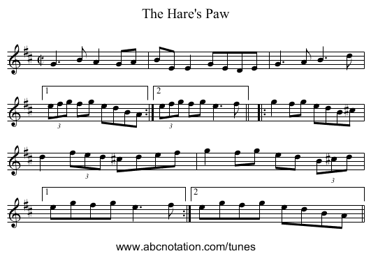 Hare's Paw, The - staff notation