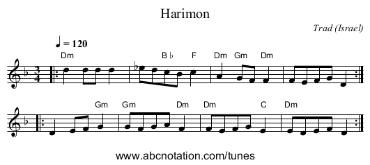 Harimon - staff notation