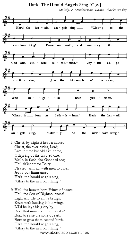 Hark! The Herald Angels Sing [G,w] - staff notation