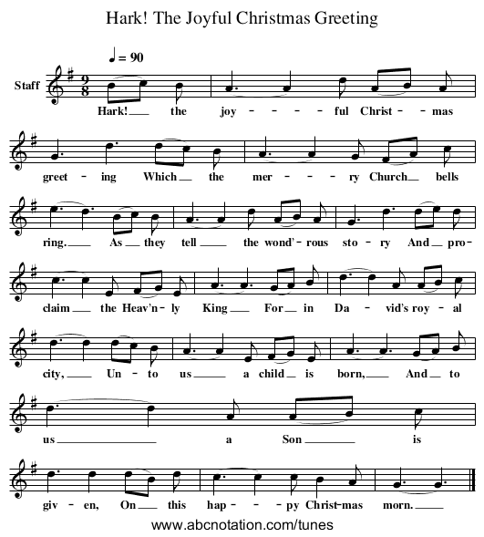 Hark! The Joyful Christmas Greeting - staff notation