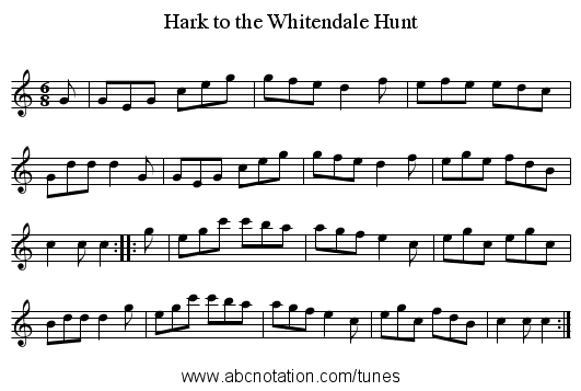 Hark to the Whitendale Hunt - staff notation