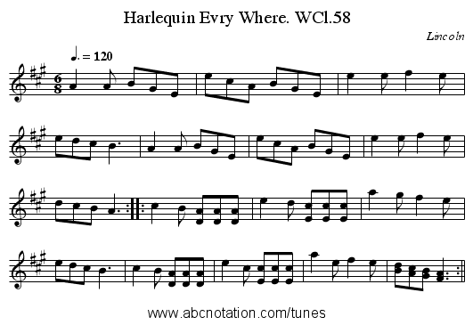 Harlequin Evry Where. WCl.58 - staff notation