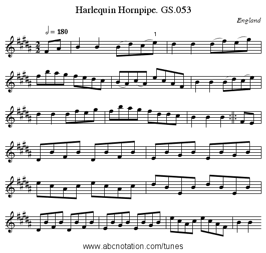 Harlequin Hornpipe. GS.053 - staff notation
