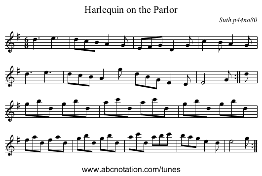 Harlequin on the Parlor - staff notation