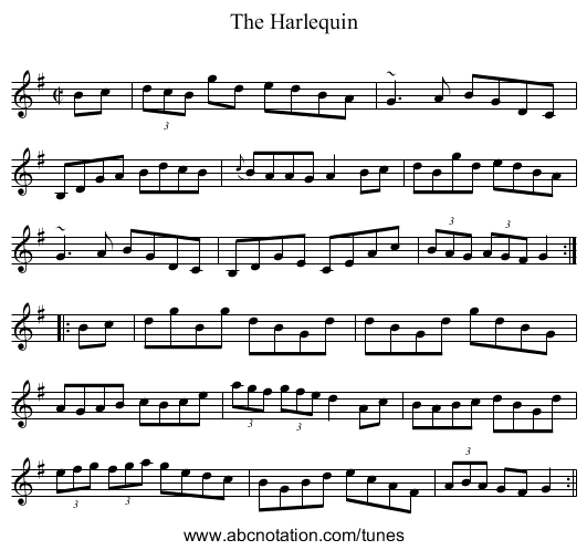 Harlequin, The - staff notation