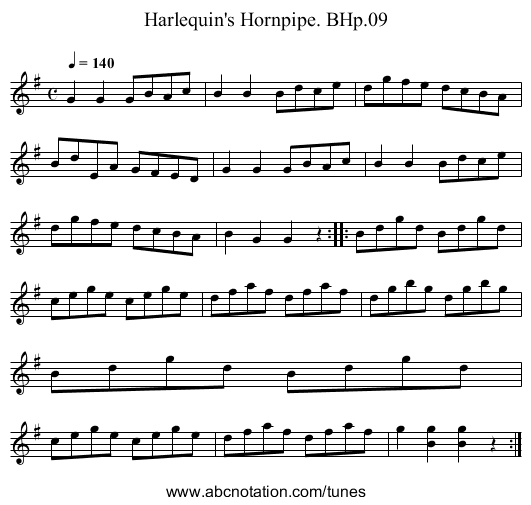 Harlequin's Hornpipe. BHp.09 - staff notation