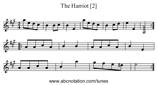 Harriot [2], The - staff notation