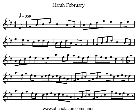 Harsh February - staff notation