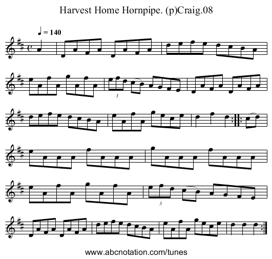 Harvest Home Hornpipe. (p)Craig.08 - staff notation