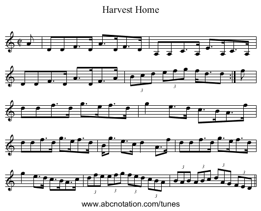Harvest Home - staff notation