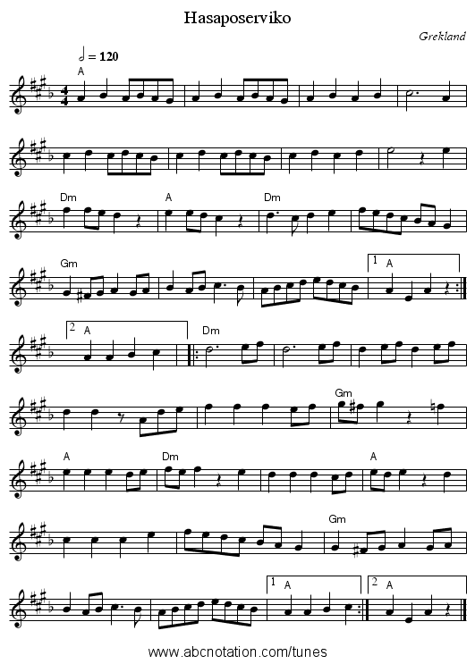 Hasaposerviko - staff notation