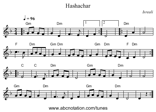 Hashachar - staff notation