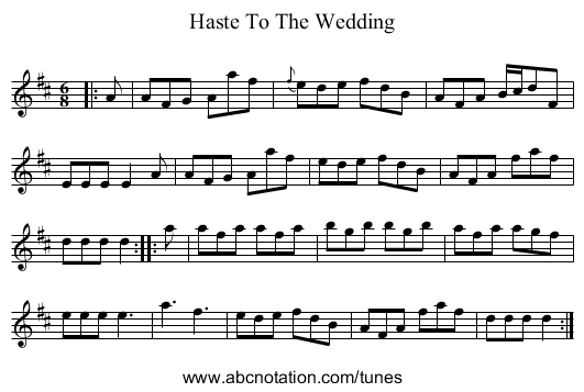 Haste To The Wedding - staff notation