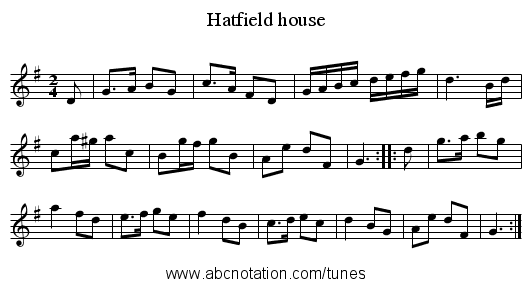 Hatfield house - staff notation