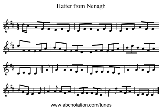Hatter from Nenagh - staff notation