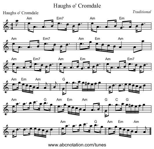 Haughs o' Cromdale - staff notation