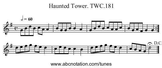 Haunted Tower. TWC.181 - staff notation