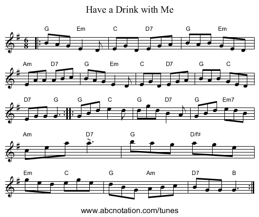 Have a Drink with Me - staff notation