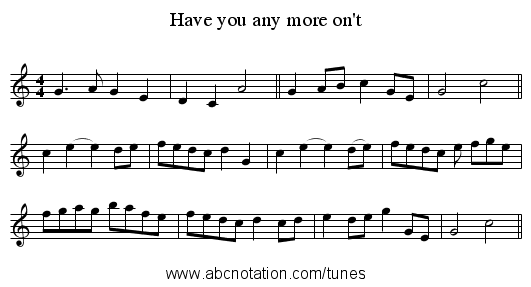 Have you any more on't - staff notation