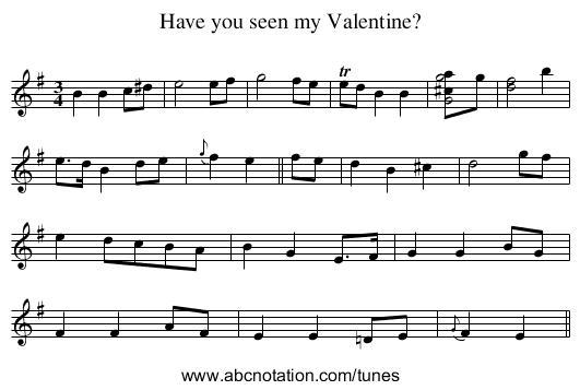 Have you seen my Valentine? - staff notation