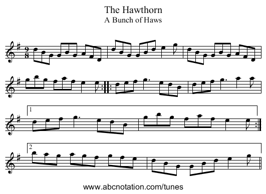 Hawthorn, The - staff notation