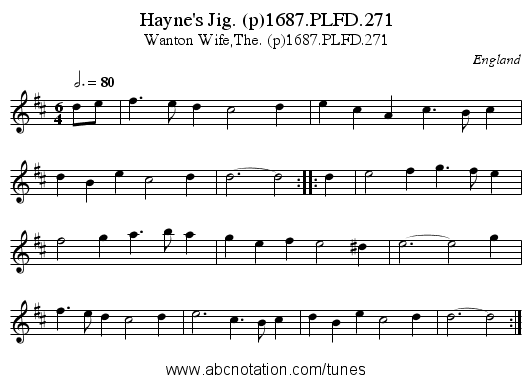 Hayne's Jig. (p)1687.PLFD.271 - staff notation