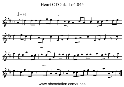 Heart Of Oak. Le4.045 - staff notation