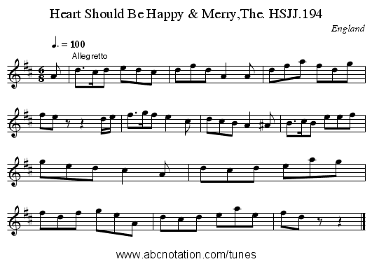 Heart Should Be Happy & Merry,The. HSJJ.194 - staff notation