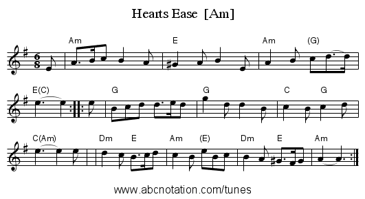 Hearts Ease  [Am] - staff notation