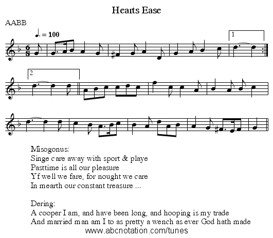 Hearts Ease - staff notation