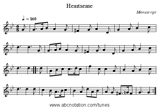Heartsease - staff notation