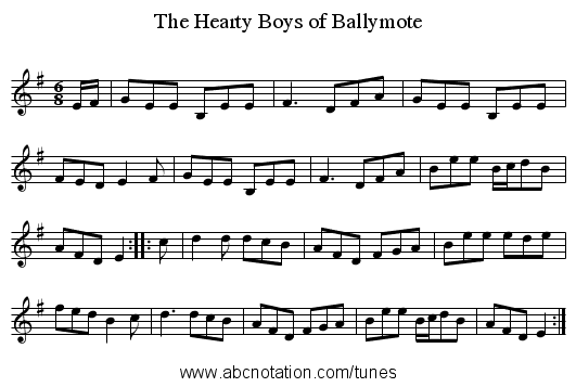 Hearty Boys of Ballymote, The - staff notation