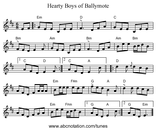 Hearty Boys of Ballymote - staff notation