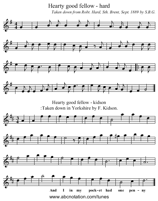 Hearty good fellow - hard - staff notation