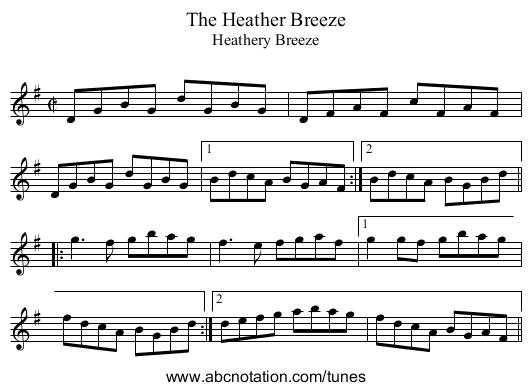 Heather Breeze, The - staff notation