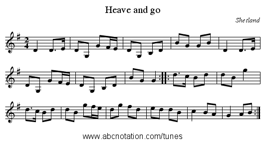 Heave and go - staff notation