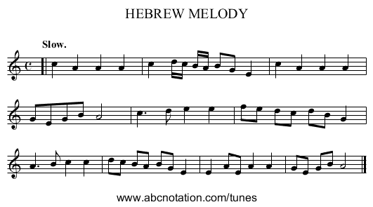 HEBREW MELODY - staff notation