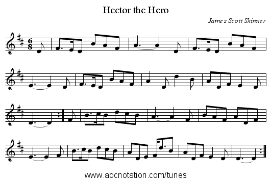 Hector the Hero - staff notation