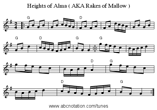Heights of Alma ( AKA Rakes of Mallow ) - staff notation