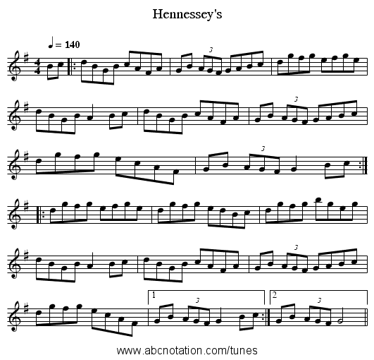 Hennessey's - staff notation