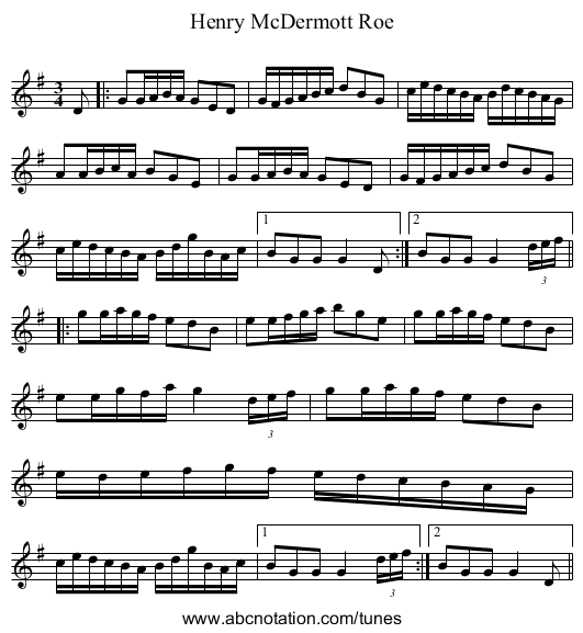 Henry McDermott Roe - staff notation
