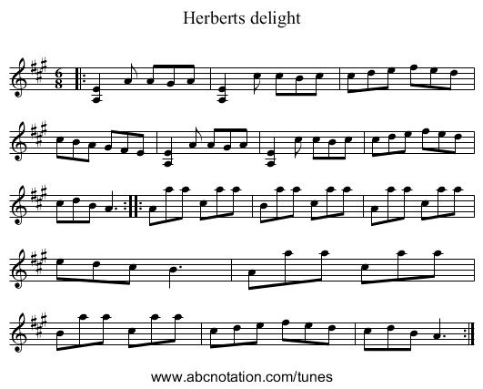 Herberts delight - staff notation