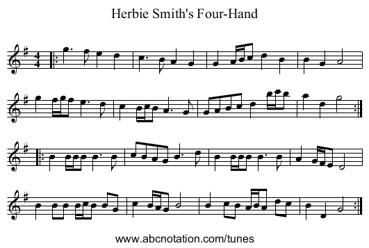 Herbie Smith's Four-Hand - staff notation