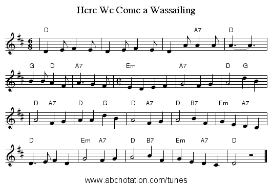 Here We Come a Wassailing - staff notation